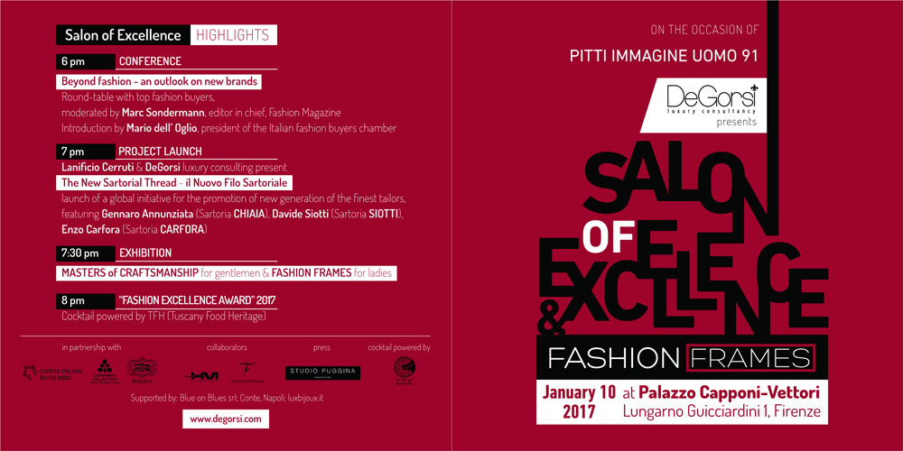 b7a2a7a629a7 ... take place at the spectacular Palazzo Capponi Vettori on January 10  during the ninety-first edition of Pitti Immagine Uomo. Event partners are  Lanificio ...